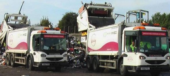 Two of Bexley's refuse lorries at work in 2008. (Photo: Transport for London)