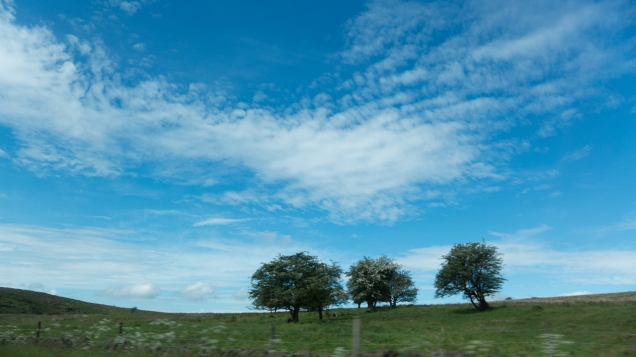 sky, clouds, car window, dore, sheffield, chatsworth, car, ride, landscape